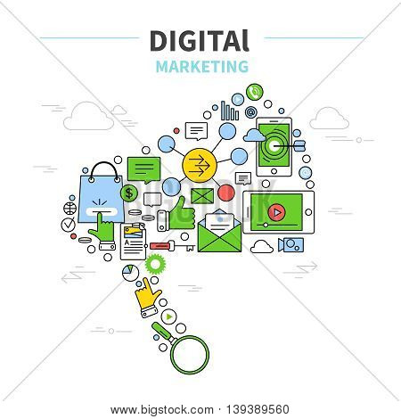 Digital marketing poster with isolated colored icon set are integrated as a speaker vector illustration