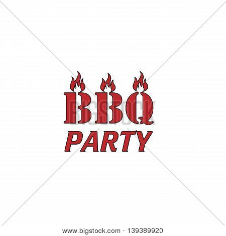 Flaming BBQ Party word design element. Red flat simple modern illustration icon with stroke. Collection concept vector pictogram for infographic project and logo