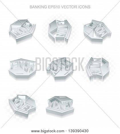 Money icons set: different views of flat 3d metallic Money Box icon with transparent shadow on white background, EPS 10 vector illustration.