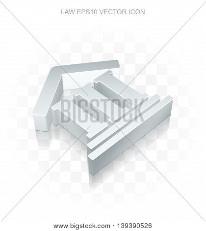 Law icon: Flat metallic 3d Courthouse, transparent shadow on light background, EPS 10 vector illustration.