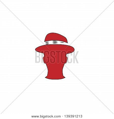 Man head with hat. Red flat simple modern illustration icon with stroke. Collection concept vector pictogram for infographic project and logo