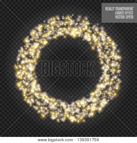 Vector round shiny frame with spark special effect. Luxury white light ring. Abstract Glow circle background. Really transparent effect. Golden light.