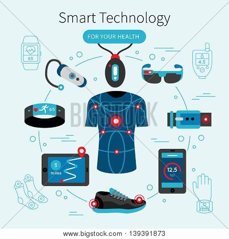 Smart technology line poster with headline for your health and electronic accessorizes equipments in present life vector illustration