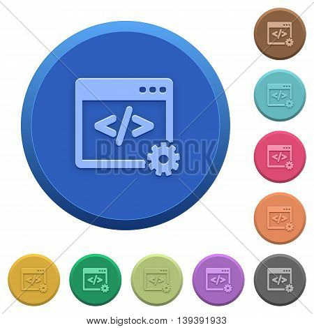 Set of round color embossed web development buttons