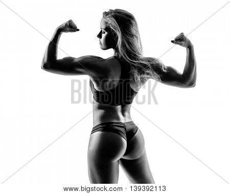 young sporty female in black and white