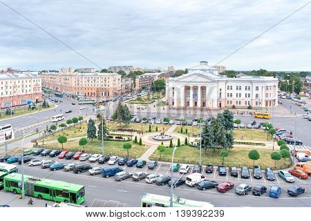 GOMEL REPUBLIC BELARUS - June 19.2016: Railway Station Square view from the heights