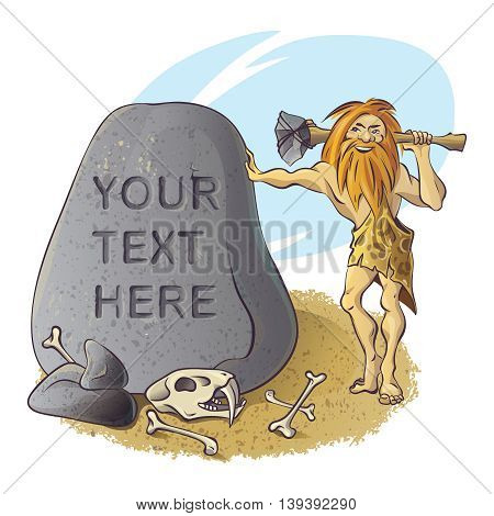 Stone age composition with bearded caveman near grey boulder with skull and bones of animal vector illustration