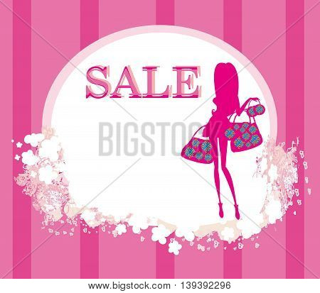 fashion shopping girl with shopping bag - sale card , vector illustration