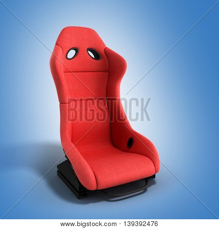 Sporty Red Automobile Armchair 3D Render On A Gradient Background