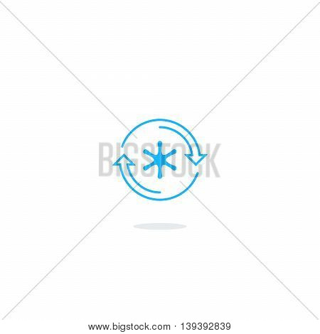 Cooling systems logo, air conditioning service icons, climate control concept