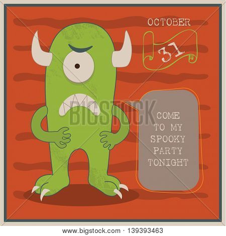 Happy Halloween Poster vector illustration with cartoon monster