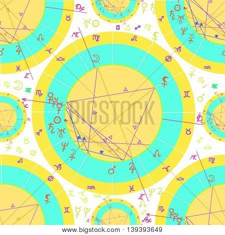 Seamless Pattern Blue - Yellow Of Natal Of Astrological Charts. Vector Illustration