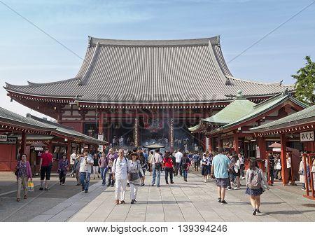 TOKYO - CIRCA JUNE, 2016: Sensoji-ji Red Japanese Temple in Asakusa, Tokyo, Japan on May 16,2016
