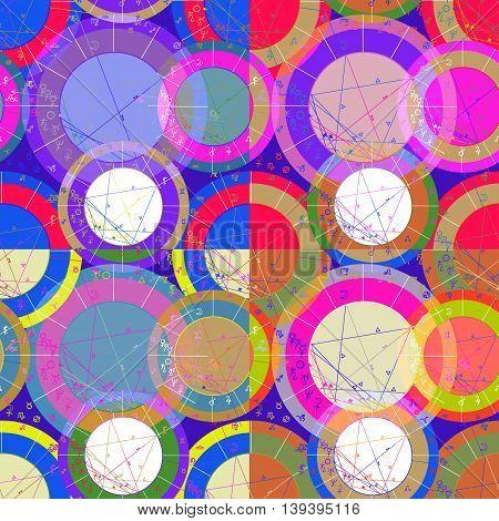 Set Of Seamless Pattern Of Blue Of Astrological Natal Chart. Vector Illustration