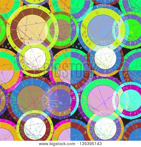 Set Of Seamless Pattern Of Green Of Natal Of Astrological Charts. Vector Illustration