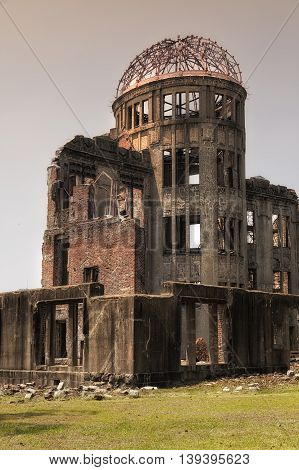 View on the atomic bomb dome in Hiroshima Japan. UNESCO World Heritage Site
