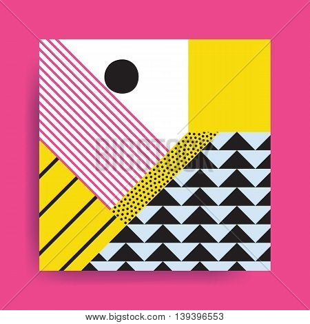 Colorful trend Neo Memphis geometric pattern juxtaposed with bright bold blocks of color zig zags, squiggles, erratic images. Design background elements composition. Magazine, leaflet, billboard poster