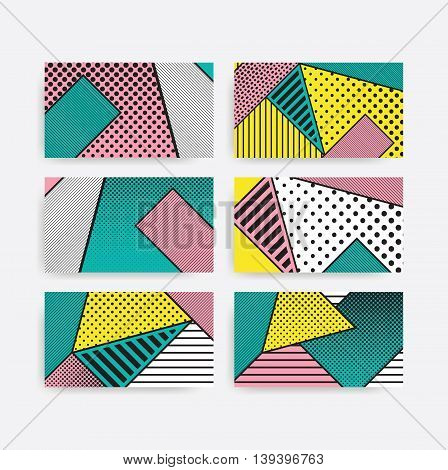 Colorful trend pop art geometric pattern set juxtaposed with bright bold blocks of color squiggles, erratic images. Matterial design background elements composition. Futuristic, prospectus, poster, magazine, broadsheet, leaflet, book, billboard