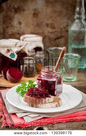 Beetroot Relish Preserves On Rye Toast