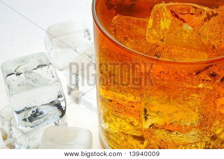 A glass of Ice Tea with a ice cubes