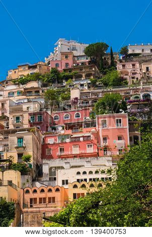 Positano is a cliffside village on southern Italy's Amalfi Coast with colorful stacked villas.