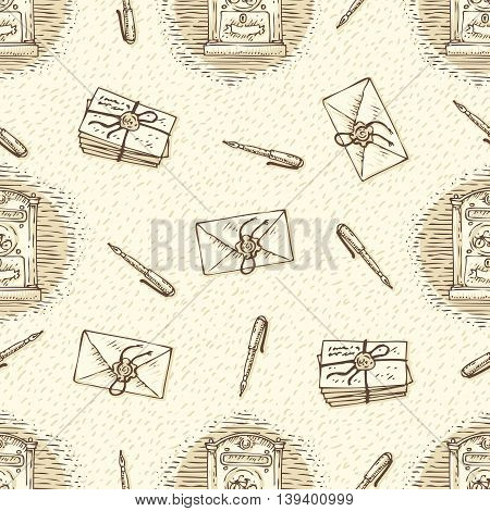 Postal Service. Seamless Vector Pattern with Envelopes, Letters, Retro Mailboxes and Ink Pens on a Beige Background