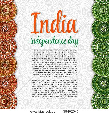 Creative Indian Independence Day concept with mandala decorative floral pattern in national flag tricolors.