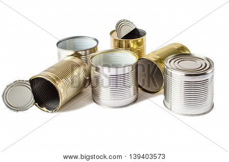 Used metal cans on a white background. Waste management. Isolated