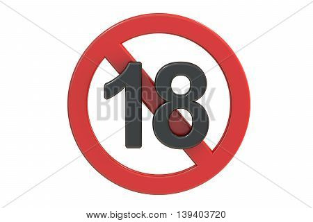 Adults only content sign. Age limit icon 3D rendering