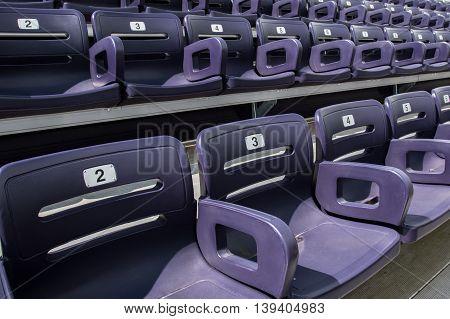 Purple Stadium Seats Tight High Angle on a diagonal