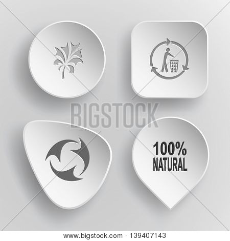 4 images: abstract plant, bin, recycle symbol, label
