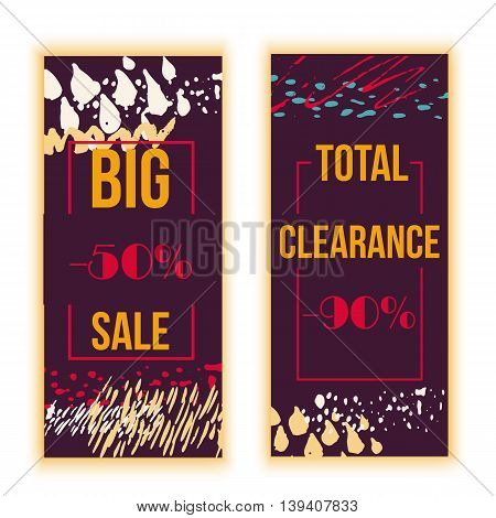Set of sale banners design with grunge stains. Vector illustration.