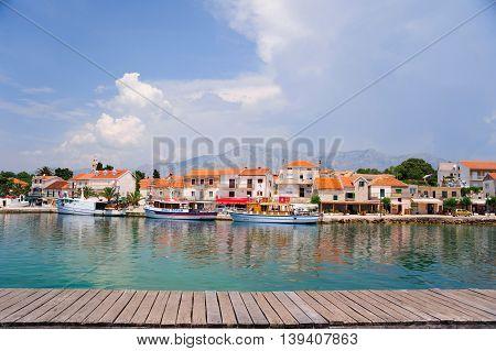 SUCURAJ, HVAR ISLAND, CROATIA - June 26, 2016: The port is an important base for trade and popular touristic destination.