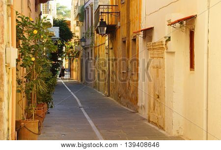 Morning on a narrow street in the old town of Rethymnon