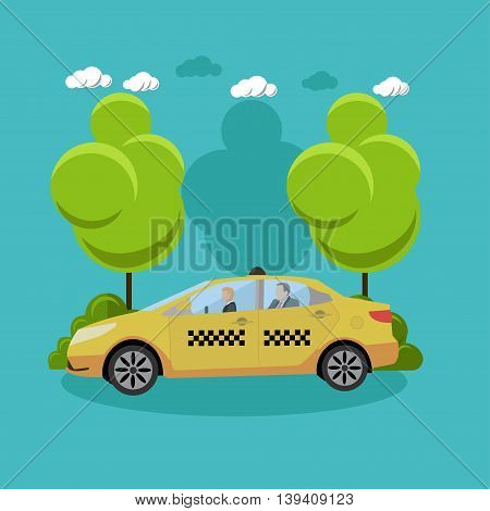 Taxi service company concept vector banner. People catch taxi cab on a street. Taxi car in flat style design.