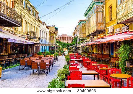 TBILISI GEORGIA - MAY 28 2016: The numerous cafes and restaurants with wide range of dishes and beverages can cater to any visitor on May 28 in Tbilisi.