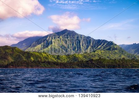 Beautiful Landscape View Of Na Pali Coastline From The Ocean, Kauai