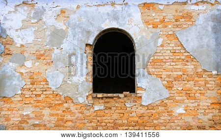 Old red Bricks Wall with White Window