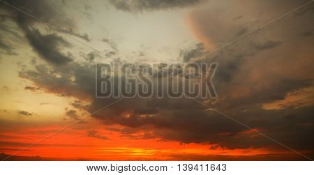 Dramatic sky with stormy clouds. Nature composition.