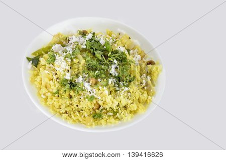 Popular Indian snack Poha or pohe made with beaten rice