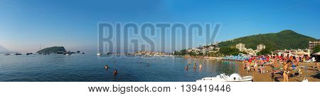 BUDVA MONTENEGRO - 13.07.2016: budva city beach montenegro editorial panorama