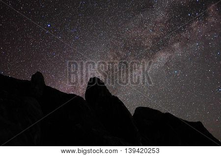 Scenery of milkyway at summit of Mountain Kinabalu,Ranau,Sabah,Borneo. Image contains visible noise due to high ISO, soft focus, shallow DOF, slight motion blur.