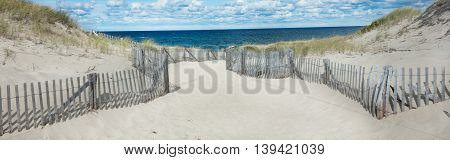 Beach at Provincetown, Massachusetts on Cape Cod with sea and clouds-Proportionate to Large Mobile Banner