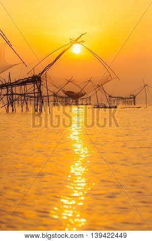 The catch fish of fishermen at dawn in the south thailand