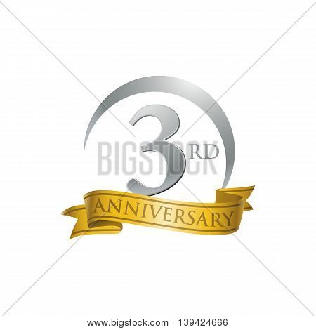 3rd anniversary gold logo template. Creative design. Business success