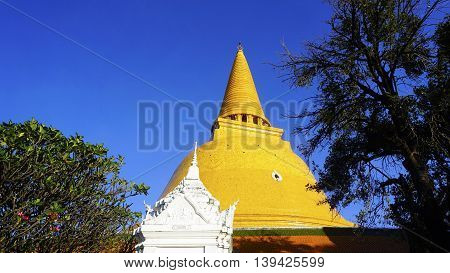 Prapathom Chedi Pagoda Temple With Blue Sky