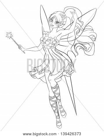 Beautiful flying fairy with magic wand. Print for the coloring book. Line art vector illustration.