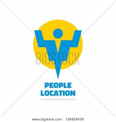 People location - vector logo template concept illustration. Abstract human character silhouette sign. Design element.