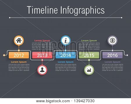 Timeline infographics design template, workflow or process diagram, flowchart, vector eps10 illustration