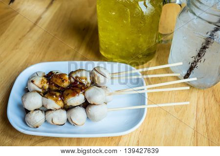 Grilled Meat Ball With Spicy Sauce
